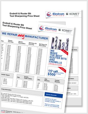 Tool Sharpening Price List